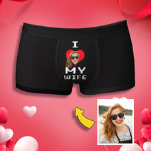 "Load image into Gallery viewer, Custom Face ""I LOVE MY WIFE"" Men's Boxer Briefs"