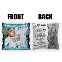 "Load image into Gallery viewer, Custom Photo Magic Sequins Pillow Multicolor Shiny Mermaid Pillow, Double-side printed, To My Mom, 16""x16""(40cmx40cm)"