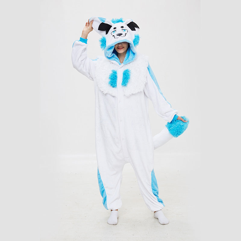 Kigurumi Pajamas Snow Monster Onesie Flannel Cartoon Winter Sleepwear For Adult With Zipper Back Costume