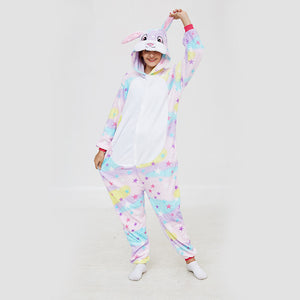 Kigurumi Pajamas Rabbit Star Onesie Flannel Winter Sleepwear For Adult