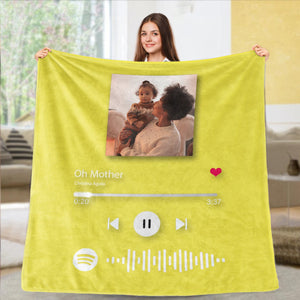 Custom Spotify Code Blankets Personalized Spotify Code Blanket Fleece Blanket 5 Sizes Mother's Day Gift
