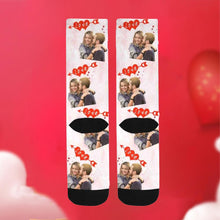 Load image into Gallery viewer, Custom Love Print Face Socks-White