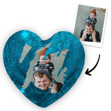 "Load image into Gallery viewer, Custom Couple Photo Magic Sequins Pillow Multicolor Shiny Mermaid Heart Shape Pillow Cover And Inner Cushion 15.75"" * 13.75"""