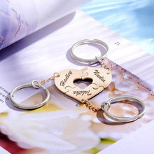 Load image into Gallery viewer, Sliver Heart Engraved Keychain, Name Keychain