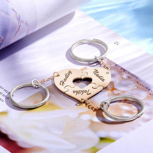 Sliver Heart Engraved Keychain, Name Keychain
