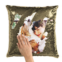 "Load image into Gallery viewer, Custom Sequin Photo Pillow Couple Magic Sequins Pillow Multicolor Shiny Valentine's Day Gift 15.75""*15.75"""
