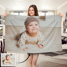 Load image into Gallery viewer, Cute Baby Personalized Fleece Photo Blanket - faceonboxer