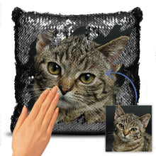 "Load image into Gallery viewer, Custom Lovely Cats Photo Magic Sequins Pillow Multicolor Shiny Mermaid Pillow, Surprise Gift, 16""x16""(40cmx40cm)"