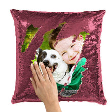 "Load image into Gallery viewer, Custom Sequin Pillow Cute Kids Pet Photo Magic Sequins Pillow Multicolor Shiny Gift 15.75""*15.75"""