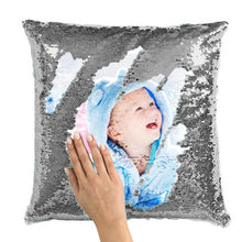 "Load image into Gallery viewer, Custom Sequin Pillow Cute Baby Photo Magic Sequins Pillow Multicolor Shiny Gift 15.75""*15.75"""