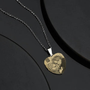 Women's Printing Photo Locket Heart Necklace - faceonboxer