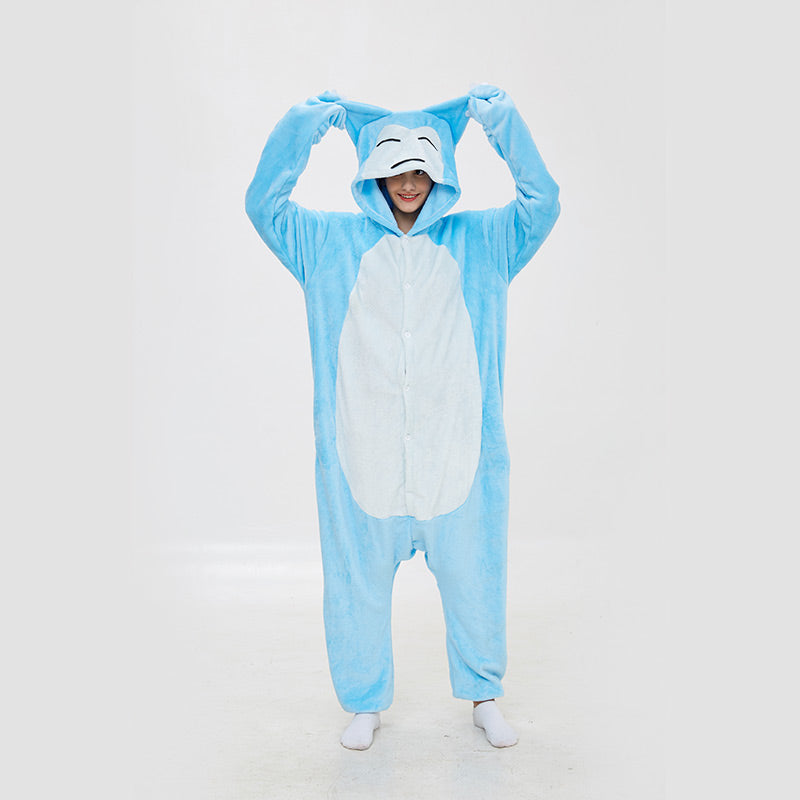 Kigurumi Pajamas  Kabimon Pokemon Blue Onesie Flannel Cartoon Winter Sleepwear For Adult With Zipper Back Costume