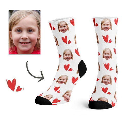 Custom Colorful Heart Face Socks(White) -