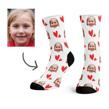 Load image into Gallery viewer, Custom Colorful Heart Face Socks(White) -