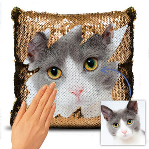 "Custom Lovely Cats Photo Magic Sequins Pillow Multicolor Shiny Mermaid Pillow, Surprise Gift, 16""x16""(40cmx40cm)"