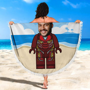 Custom Photo Round Beach Towel with edging, Quick Dry Bath Towel, Swimming Towel, Iron Man beach towel, create your own beach towel