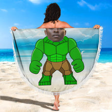"Load image into Gallery viewer, Custom Photo Round Beach Towel with edging, Quick Dry Bath Towel, Swimming Towel, ""Hulk"" Lego-style, create your own beach towel"