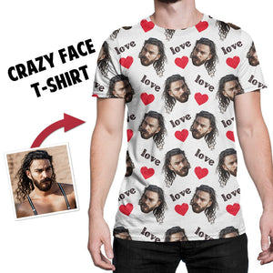 Custom Face Photo All Over Print T-shirt, Unisex T-shirt, crazy face T-shirt, Multiple colors to choose