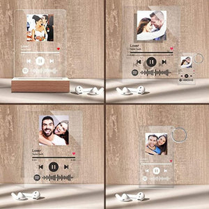 Custom Scannable Spotify Code Music Plaque & A Same Custom Spotify Code Keychain, Surprise Gift For Your Lover