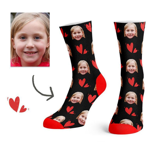 Custom Colorful Heart Face Socks(Blackï¼ -