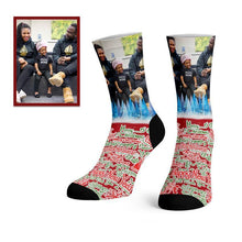 Load image into Gallery viewer, Custom Merry Christmas Photo Socks -