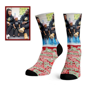 Custom Merry Christmas Photo Socks -