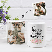 Load image into Gallery viewer, Personalized Mug,Custom Photo Mug,Gift for Mom, Home is Where my Mom is, beautiful flowers