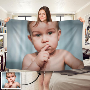 Cute Baby Personalized Fleece Photo Blanket - faceonboxer