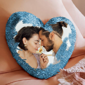 "Custom Couple Photo Magic Sequins Pillow Multicolor Shiny Mermaid Heart Shape Pillow Cover And Inner Cushion 15.75"" * 13.75"""