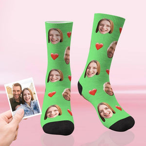Custom Funky Gift Heart Print Face Socks