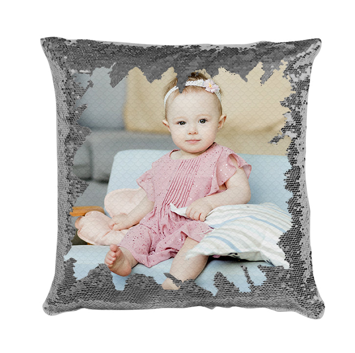 Family Custom Photo Magic Sequins Pillow Multicolor Shiny Gift 15.75