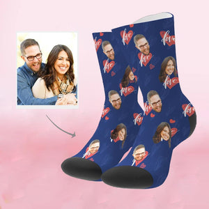 Custom Perfect Gift Heart Print Face Socks