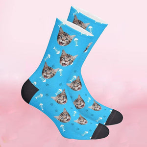 Custom Fish Bone Pattern Pet Face Socks
