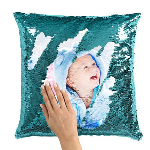 "Custom Sequin Pillow Cute Baby Photo Magic Sequins Pillow Multicolor Shiny Gift 15.75""*15.75"""