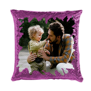 "Family Custom Photo Magic Sequins Pillow Multicolor Shiny Gift 15.75""*15.75"""