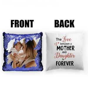 "Custom Photo Magic Sequins Pillow Multicolor Shiny Mermaid Pillow, Double-side printed, The Love between Mother and Daughter, 16""x16""(40cmx40cm)"