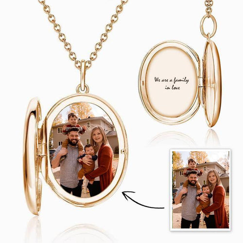 Oval Photo Locket Necklace With Engraving Rose Gold Plated - faceonboxer