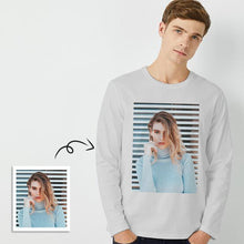 Load image into Gallery viewer, Custom Photo Men's Long Sleeve T-Shirt Cotton T-shirt - faceonboxer