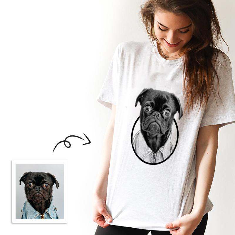 Custom Black and White Photo Engraved White T-shirt - faceonboxer