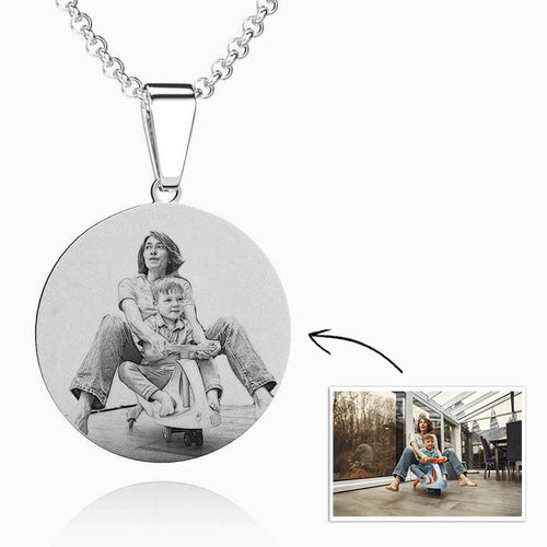 Women's Round Photo Necklace Stainless Steel - faceonboxer