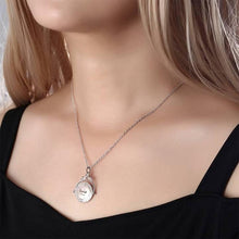 Load image into Gallery viewer, Vintage Embossed Mirror Photo Necklace Platinum Plated - faceonboxer