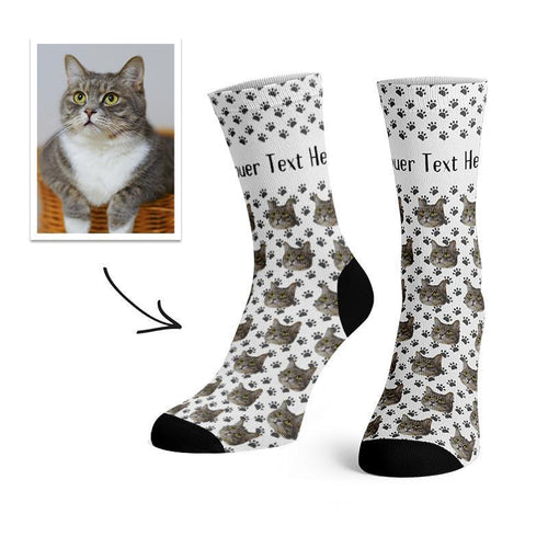 Custom Cat Face Socks With Text -