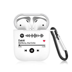 Scannable Custom Spotify Code Airpods Case Music Keepsake Gift For Couple Black
