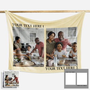 Family Love Personalized Photo Fleece Blanket With 1-4 Photos- New - faceonboxer