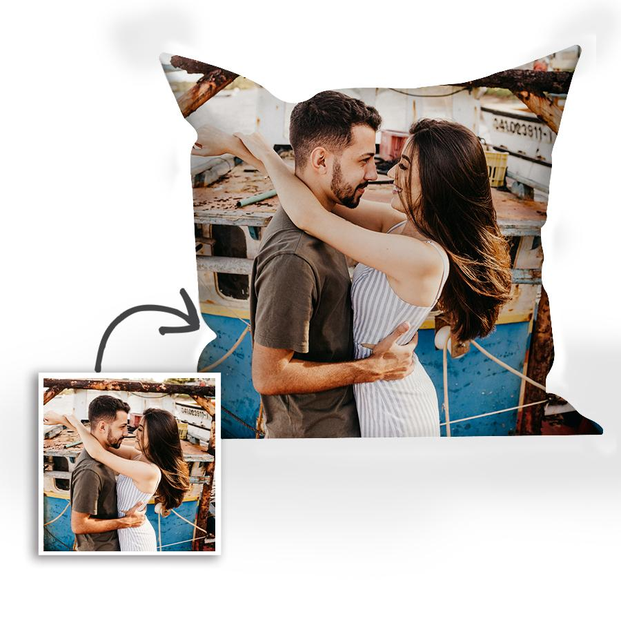 Custom Couple Photo Name Throw Pillow Personalized Gift 15.75