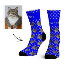 Load image into Gallery viewer, Custom Cat Face Socks With Text -