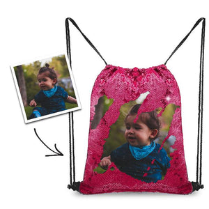 Personalized Sequins Backpack with Photo of Baby