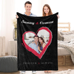 Love Couple Personalized Fleece Photo Blanket with Text - faceonboxer