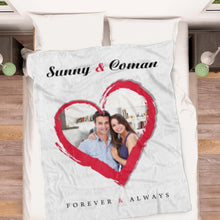 Load image into Gallery viewer, Love Couple Personalized Fleece Photo Blanket with Text - faceonboxer