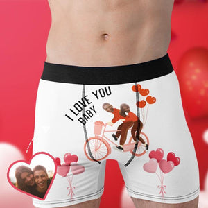 Custom Boxer Faces Men's Panties- I Love You Baby